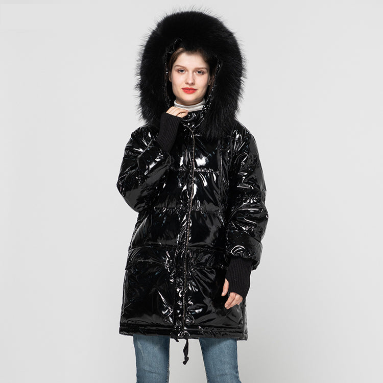 2021Winter Fashion Long Down Coat Women's Keep Warm Real White Duck Down Overcoats Black Hooded Jackets