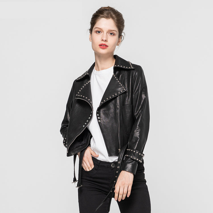 Women Fashion Genuine Leather Jackets Motorcycle Female Jacket Autumn Winter Biker Real Sheepskin Short Coat