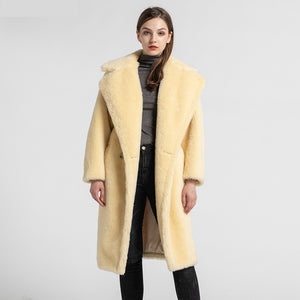 yellow womens long natural wool real wool teddy coat
