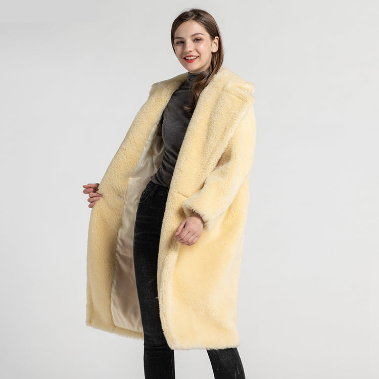 teddy coat in yellow for women max mara long teddycoats