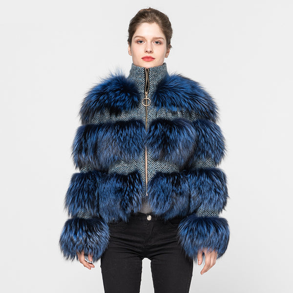 Blue Tweed Fur Coat