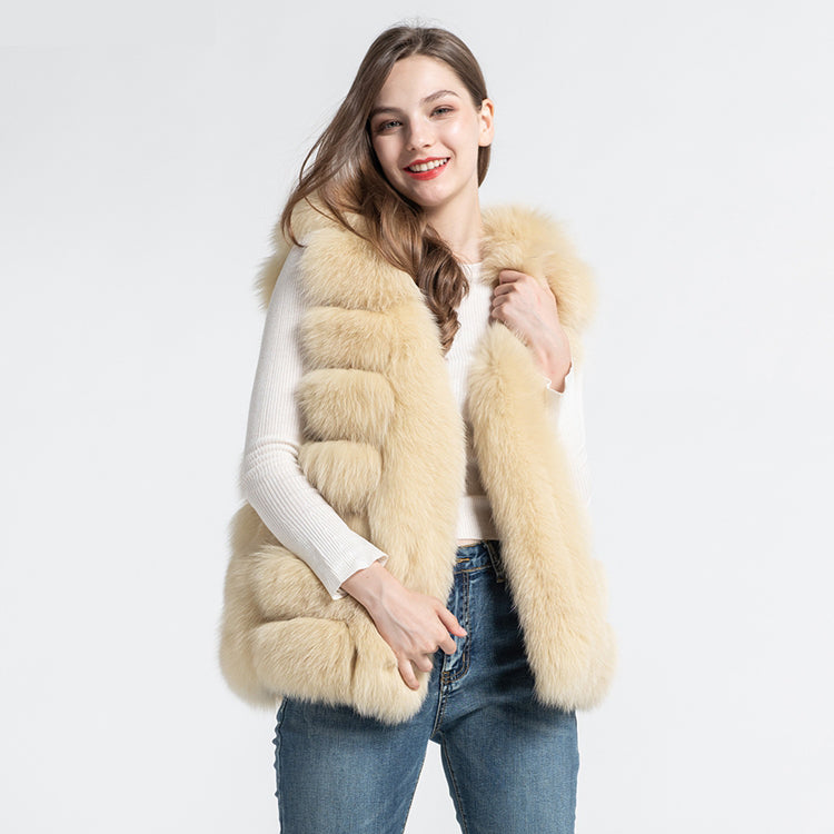 Hot Sale Real Fox Fur Vest Women's Hooded Gilet Fashion Soft Warm Waistcoat