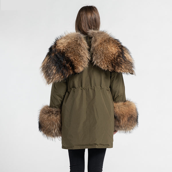 Warm handcrafted parka coat for women with raccoon fur lining