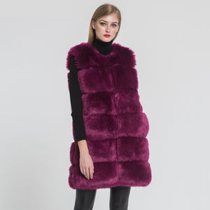 Faux Fox Fur Long Vest High Quality Fake Fur Gilet Autumn Winter Warm Fake Fur Waistcoat 2020 / 2021