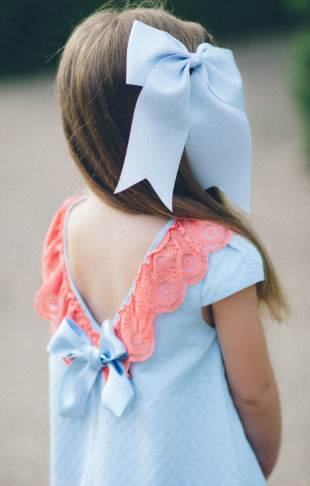 Light Slate Blue Large Bow (Barrette)