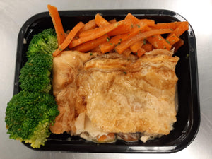 Chicken and Mushroom Pie with Glazed carrots & Broccoli - Blue Carrot Catering