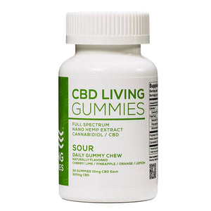 CBD Living - CBD Edible - Sour Living Gummies 30 Count - 300mg - The Green Guys - Largest CBD Marketplace