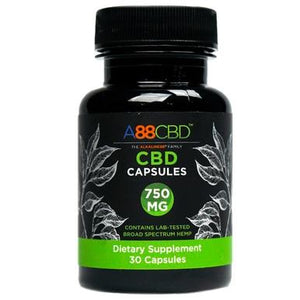 A88 CBD - CBD Capsules - Broad Spectrum CBD Caps - 750mg - The Green Guys - Largest CBD Marketplace