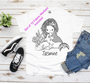 Color Your Own T-Shirt, African American, Girls T-Shirt