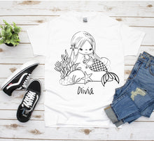 Load image into Gallery viewer, Color Your Own, Mermaid Gifts, Girls T-Shirt