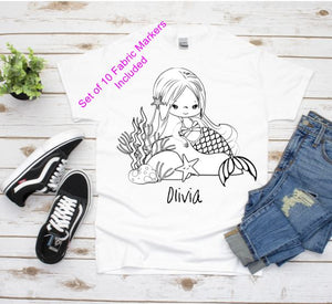 Color Your Own, Mermaid Gifts, Girls T-Shirt