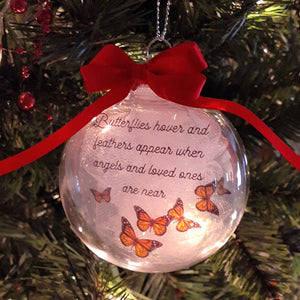 Butterflies hover and feathers appear when angels and loved ones are near Christmas Memorial Ornament