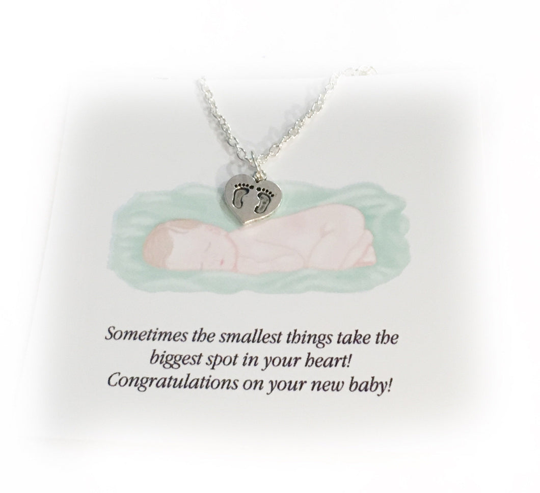 New Mom Necklace Gift for Mom Baby Feet Jewelry