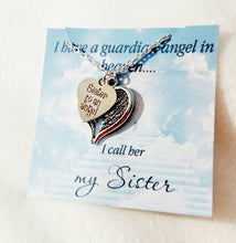 Load image into Gallery viewer, Sister Memorial Necklace, Memorial Gift, In Loving Memory, Gift for Friend, Sister Gift