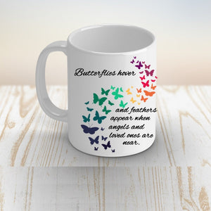 Personalized Butterflies Appear When Angels are Near Coffee Mug, Bereavement, Memorial Gift for her
