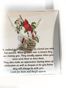 Cardinal Memorial Necklace, Memorial Gift, Bereavement, Gift for Mom