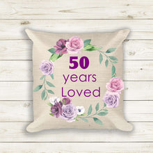 Load image into Gallery viewer, 50th Birthday Gift for Women, Throw Pillow, Pillow Cover, Gift for Sister