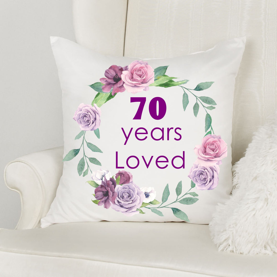 70th Birthday Gifts for Women, Throw Pillow, Birthday