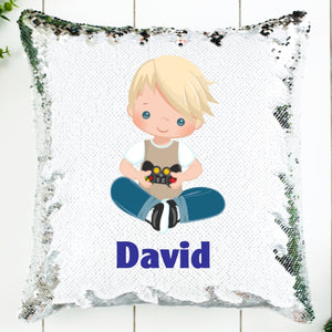 Video Gamer Personalized Sequin Pillow