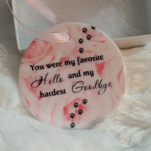 My Favorite Hello and Hardest Goodbye Pink Rose's Memorial Ornament