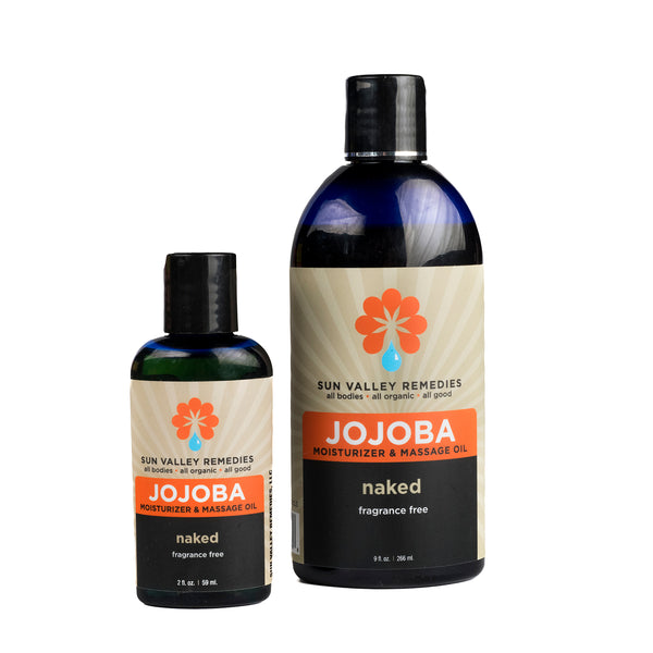 Naked Jojoba oil in 2 sizes of cobalt blue jar and beige label. This is a fragrance free, nourishing, rich moisturizer