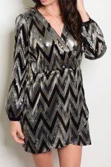Sequin V-Neck Chevron Dress