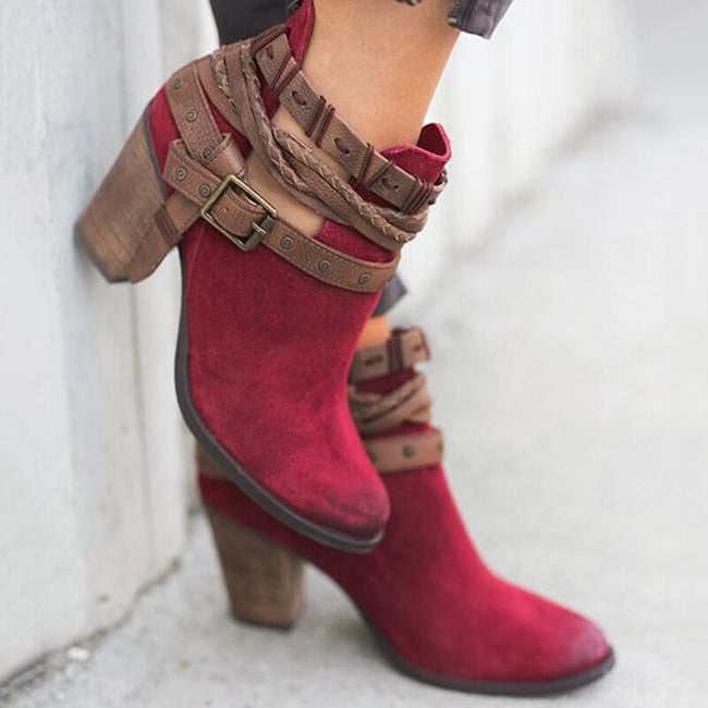 Litthing Suede Leather Buckle Boots