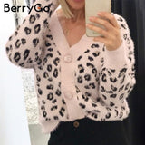 Mohair Cropped Leopard Cardigan
