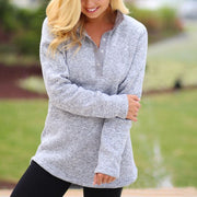 Button Neck Pullover