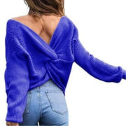V Neck Beauty Back Sweater