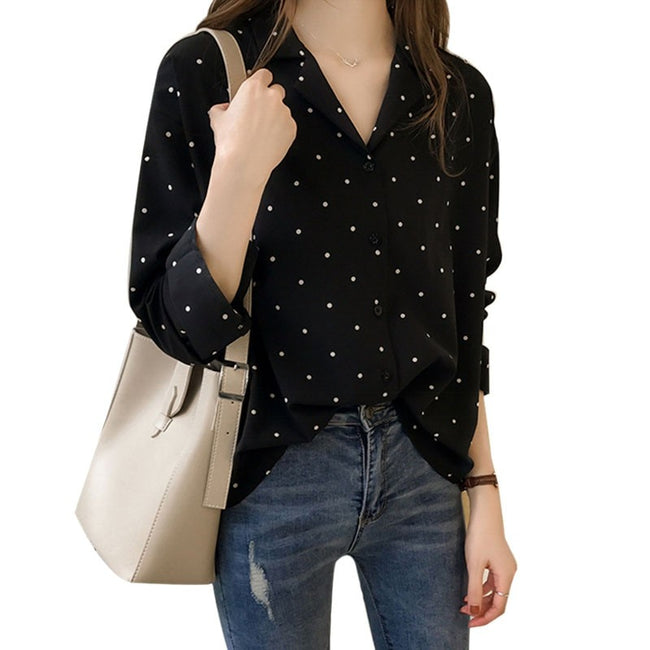 Buttons and Dots Chiffon Top