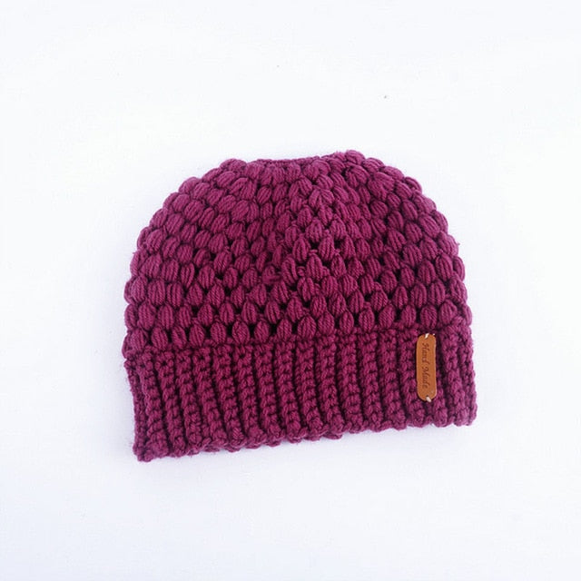 Ponytail Knitted Beenie Hat