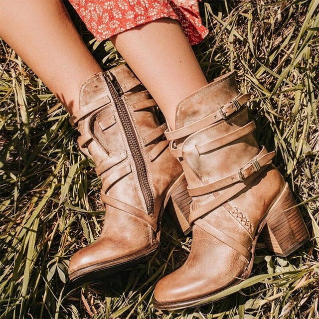 Buckle Strap, Round Toe Motor Boots