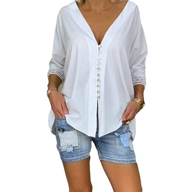 Three Quarter Sleeve & Buttons Top