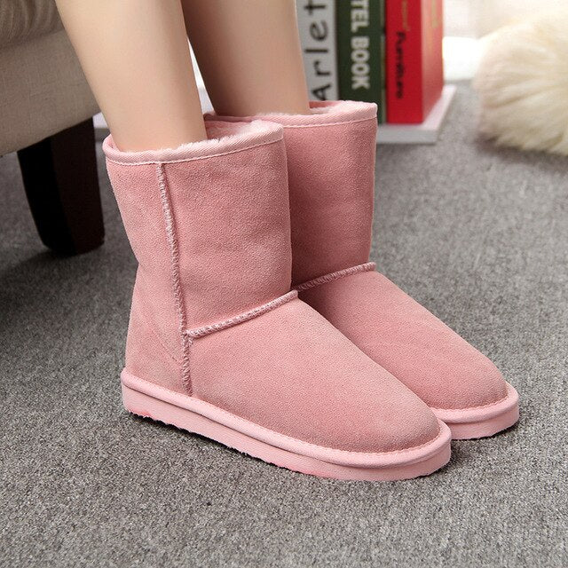 Genuine leather suede Real Sheep Fur Wool Lined Boots