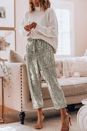 Gold Sequin Wide Leg Pants