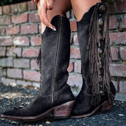 Mid-Calf Boots Chunky -Tassel Boots