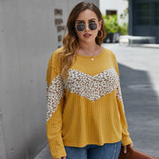 Knitted Leopard Print Patchwork Blouse