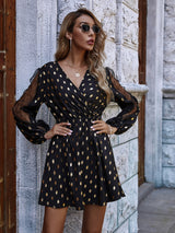 Seeing Gold Dots Midi Dress