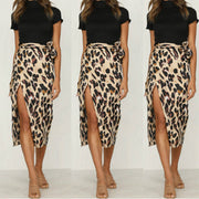 Leopard High Waist Tie Front Wrap Skirt
