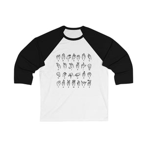 Alphabet 3/4 Sleeve Baseball Tee