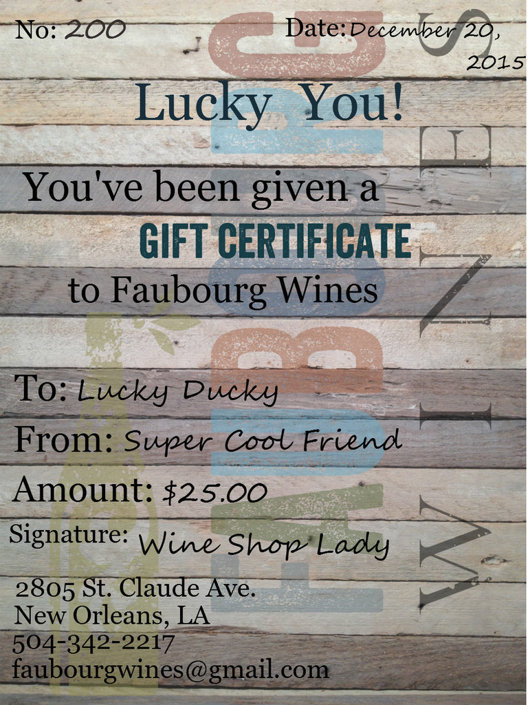 FW Gift Certificate $25