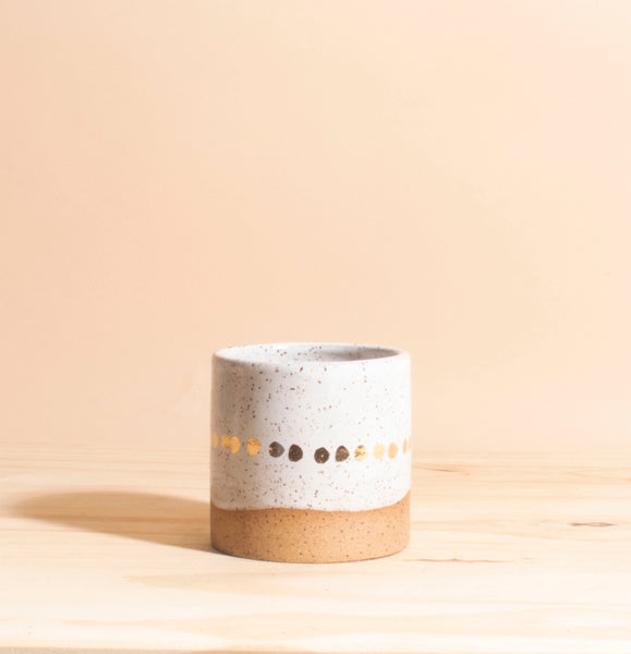 Natural Speckle with Gold Dots Handmade Ceramic Planter