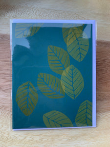 Kinaloon Greeting Card- Leaves on Teal