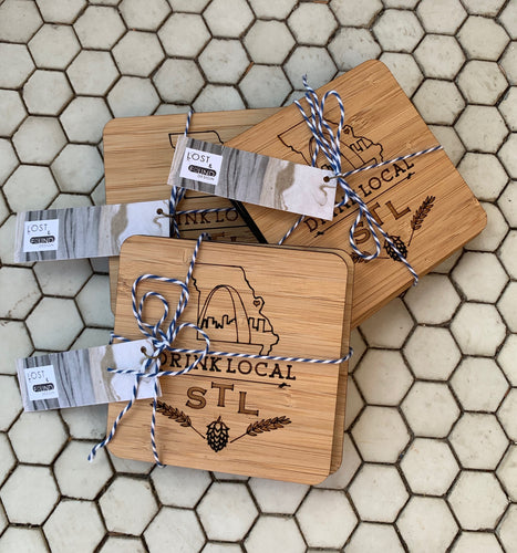 Lost & Found Design Bamboo STL Beer Coasters