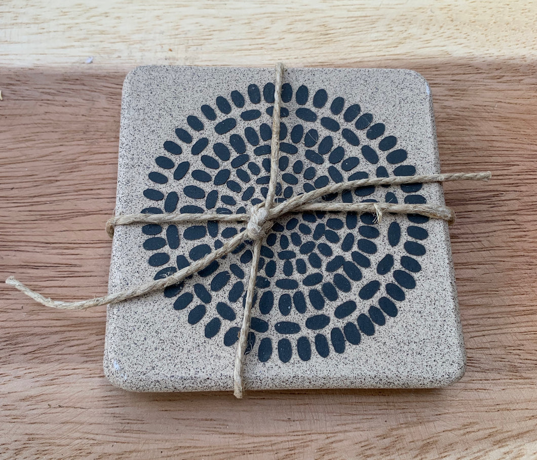Zak Pottery Stonewear Coaster Set of 2