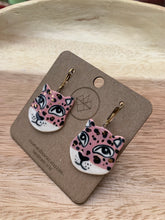 Load image into Gallery viewer, Crown & Heart Leopard Earrings