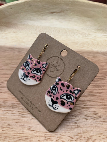 Crown & Heart Leopard Earrings