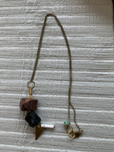 Load image into Gallery viewer, Lost & Found Design Mixed Media Tourmaline, Wood, and Brass Necklace