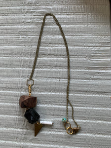 Lost & Found Design Mixed Media Tourmaline, Wood, and Brass Necklace